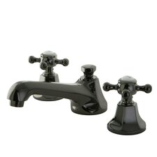 Water Onyx Double Handle Widespread Bathroom Faucet with Brass Pop-Up Drain