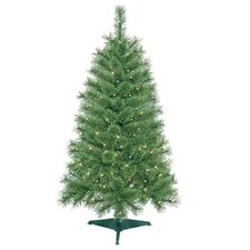 4' Green Artificial Christmas Tree with 150 Clear Lights and Stand