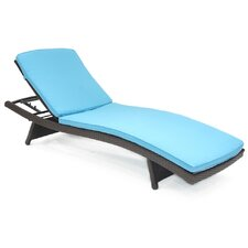 Adjustable Wicker Chaise Lounge with Cushion