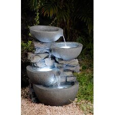 Polyresin and Fiberglass Tiered Modern Bowls Fountain