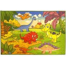 Children's Dinosaurs Green Area Rug