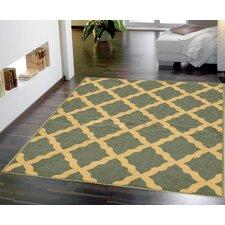 Ottohome Moroccan Trellis Design Sage Green Area Rug