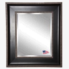 Black with Silver Cage Trim Wall Mirror