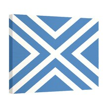 """X"" Marks the Spot Stripes Print Outdoor Graphic Art on Canvas in Blue and White"