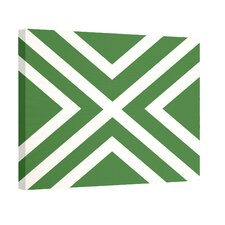 """X"" Marks the Spot Stripes Print Outdoor Graphic Art on Canvas in Leaf Green"