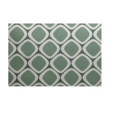 Pebbles Geometric Print Wintergreen Outdoor Area Rug