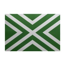 """X"" Marks the Spot Stripes Print Leaf Green Outdoor Area Rug"