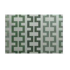 Cuff-Links Geometric Print Herb Green Outdoor Area Rug