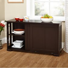 Pacific Espresso Kitchen Island with Wooden Top