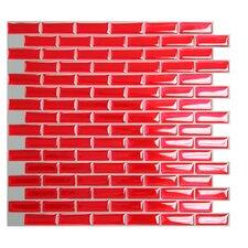 """Mosaik 9.1"""" x 10.2"""" Resin Peel & Stick Mosaic Tile in Red"""