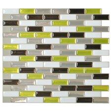 """Mosaik 10.25"""" x 9.13"""" Mosaic Tile in White & Bright Green"""