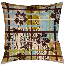 Floral Study in Plaid Indoor/Outdoor Throw Pillow
