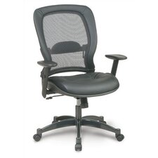 High-Back Leather Conference Chair with Arms