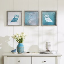 'Wise As An Owl' by Evangeline Taylor 3 Piece Framed Painting Print Set
