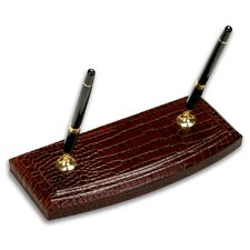 2000 Series Crocodile Embossed Leather Double Pen Stand in Brown