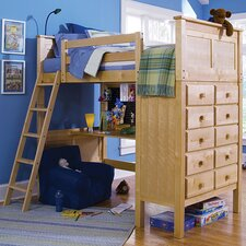 Kenai Twin Loft Storage Bed with Built-In Ladder