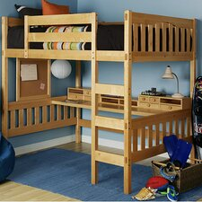 Gabriel Full Loft Bed with Ladder and Media Cart