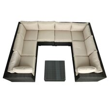 South Hampton 9 Piece Wicker Sectional Seating Group with Cushions