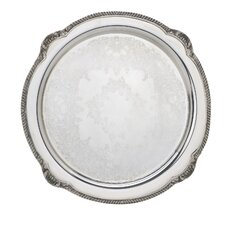 "Silver Plated Giftware Shell and Gadroon 15"" Road Tray"