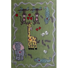 Zoomania Happy Life Green Children's Area Rug