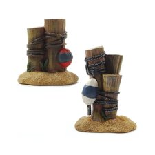 2 Piece Beach Posts with Buoys Statue Set (Set of 4)