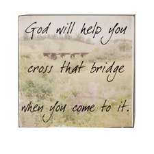 God Will Help Box Sign Wall Art (Set of 4)