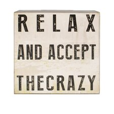 Relax and Accept Box Sign Wall Art (Set of 4)