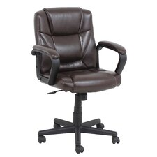 Mid-Back Leather Conference Chair with Arms