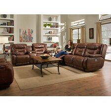 Crescent Reclining Leather Console Sofa