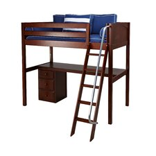 KNOCKOUT2 High Loft Panel Bed with Long Desk and Narrow 3 Drawer Dresser