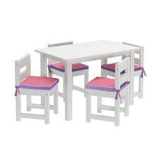 Kids 5 Piece Rectangle Table and Chair Set with Seat Pad