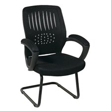 Screen Back Contour Shell Sled Base Conference Chair with Padded Arms
