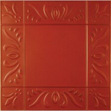 "11"" x 11"" Metal Hand-Painted Tile in Red"
