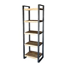"""Handcrafted Reclaimed Wood Tall Rack and 5 Shelf 71"""" Accent Shelves"""