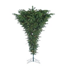 7.5' Green Upside Down Floor Christmas Tree with 600 Clear Lights with Stand