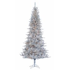 9' Silver Tiffany Tinsel Christmas Tree with 650 Clear Lights with Stand