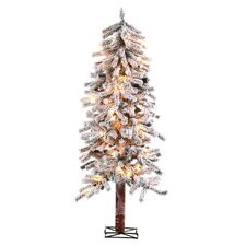 6' Alpine Christmas Tree with 150 Clear Lights with Flocked and Stand