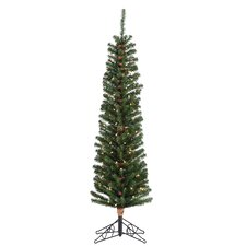 6.5' Green Pencil Fir Christmas Tree with 200 Clear Lights with Stand