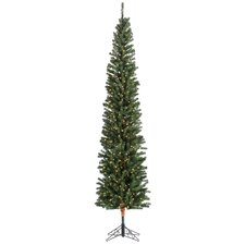 7.5' Green Pencil Fir Christmas Tree with 300 Clear Lights with Stand