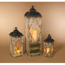 3 Piece Antique Wood and Metal Lantern Set with Green Drawers