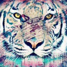 """White Tiger"" Canvas Art"