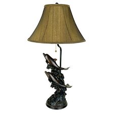 """Dolphin 30"""" H Table Lamp with Bell Shade"""