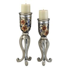 Cherry Blossoms 2 Piece Candle Holder Set