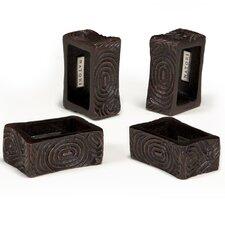Wood Grain Napkin Rings (Set of 4)