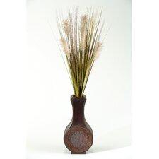 Tall Onion Grass in Tall Wood Decorative Vase