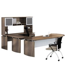 Media Computer Desk with Hutch and Handed Bridge