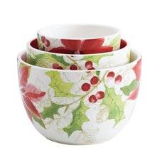 Signature Holiday Floral Nested Serving Bowl 3 Piece Set