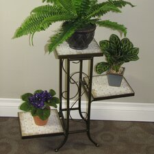 Multi-Tier Plant Stand with Travertine Top