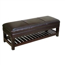 Large Faux Leather Ottoman in Black with Lift Top