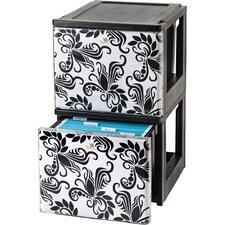Stacking File Storage Drawer with Design (Set of 2)